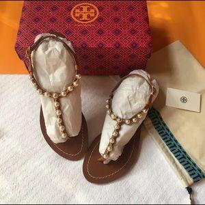 NIB Tory Burch Emmy Pearl Tan Thong Sandals Size 8